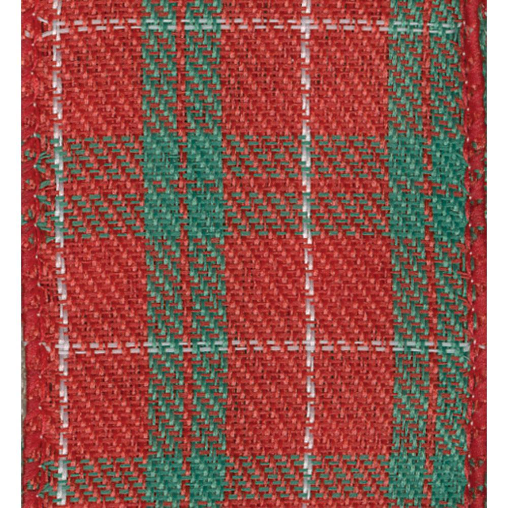 Red and Green Plaid Wired Ribbon - 8 Yard Spool