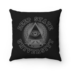DEEP STATE UNIVERSITY - BW - throw pillow