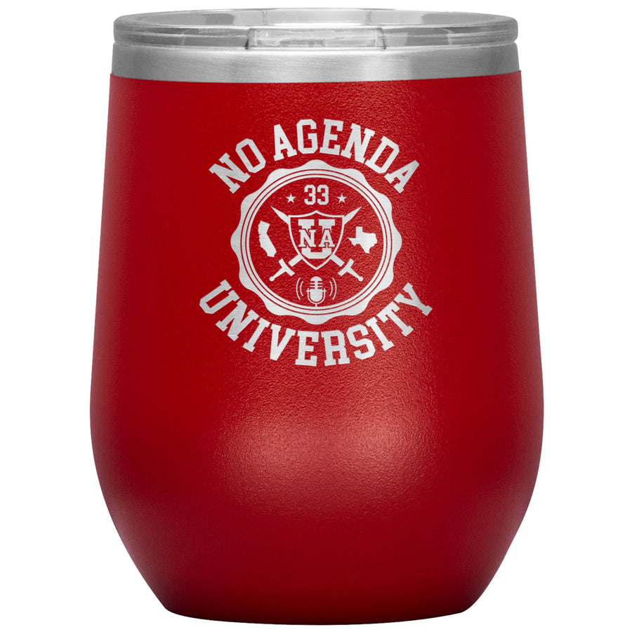 NO AGENDA UNIVERSITY - 12 oz wine tumbler