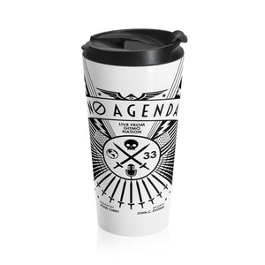 NO AGENDA RALLY - LIGHT - 15oz travel mug
