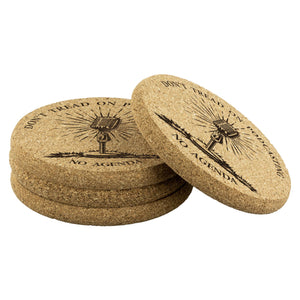DONT TREAD ON PODCASTING - cork coasters