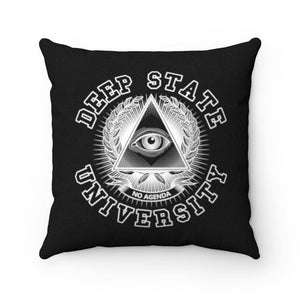 DEEP STATE UNIVERSITY - BW - throw pillow case