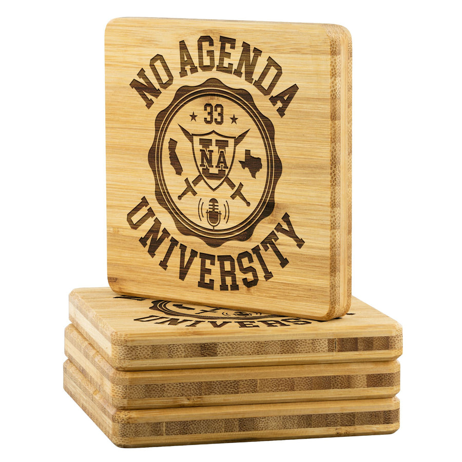 NO AGENDA UNIVERSITY - bamboo coasters