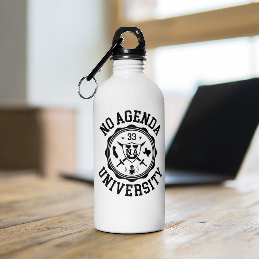NO AGENDA UNIVERSITY - 14 oz water bottle