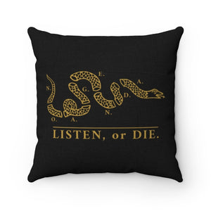 LISTEN OR DIE - BG - throw pillow case