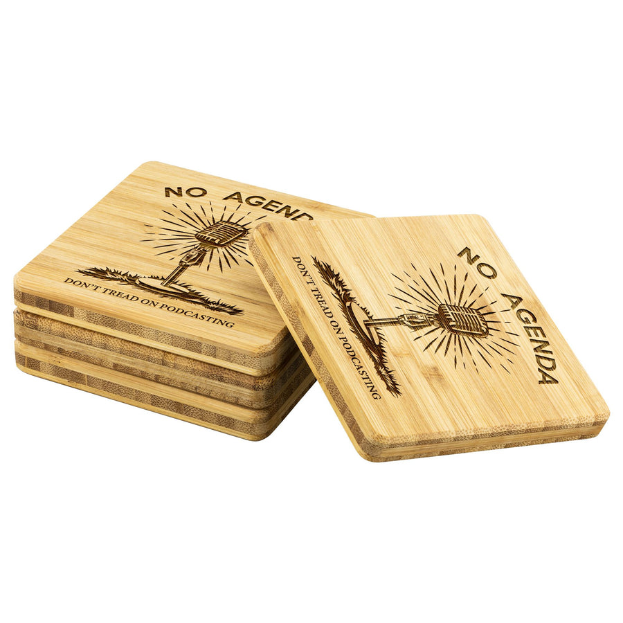 DONT TREAD ON PODCASTING - bamboo coasters