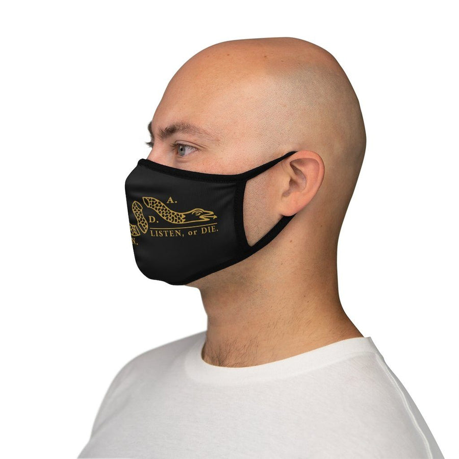 LISTEN OR DIE - GOLD- fitted face mask