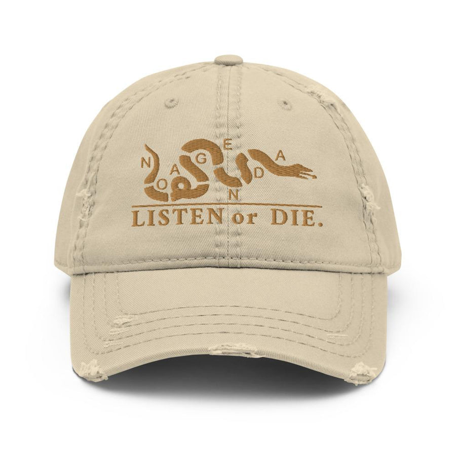 LISTEN OR DIE - distressed hat