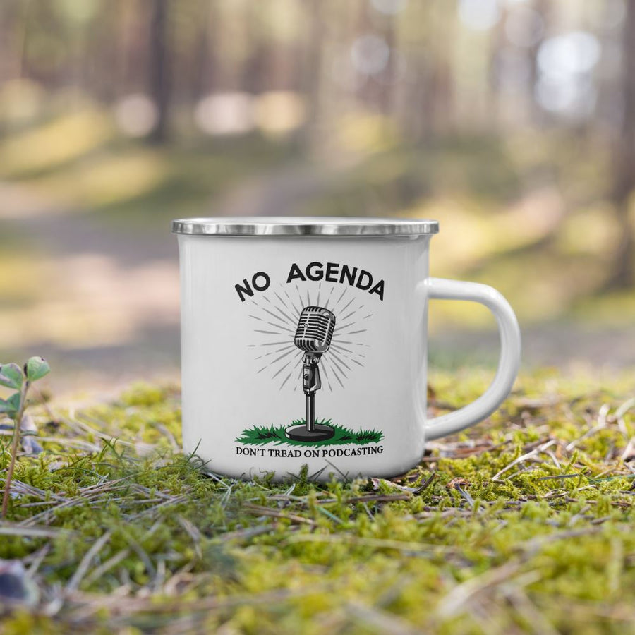DONT TREAD ON PODCASTING - enamel mug