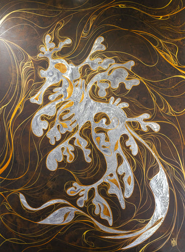 leafy sea dragon aluminium painting commission
