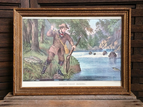 Currier & Ives Brook Trout Fishing Print