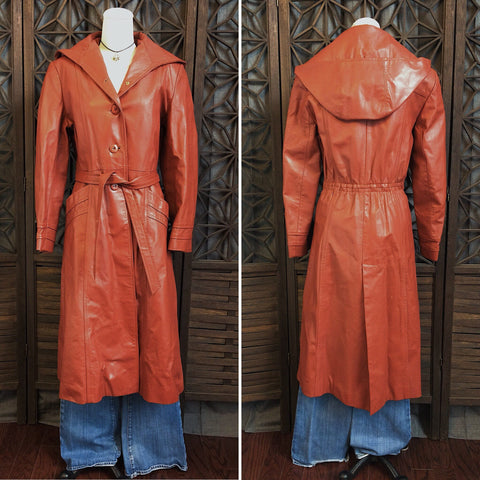 70's Hooded Leather Trench Coat, Size Small
