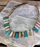 Taxco Sterling Modernist Statement Necklace with Turquoise