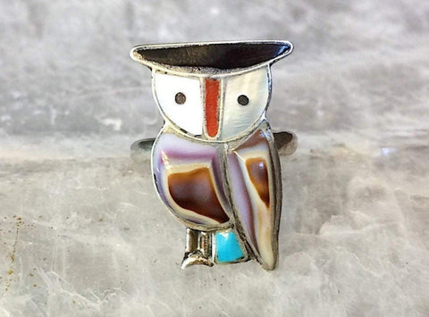 Sterling Zuni Owl Inlay Ring, Size 5.5