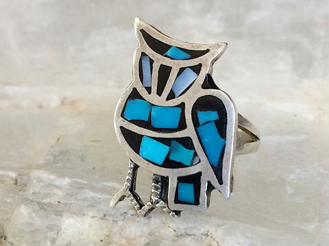 Turquoise Chip Inlay Owl Ring, Size 4.5