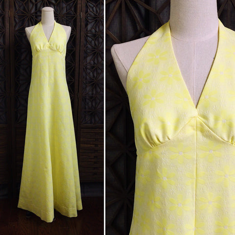 60s Maxi Halter Dress, Size Small