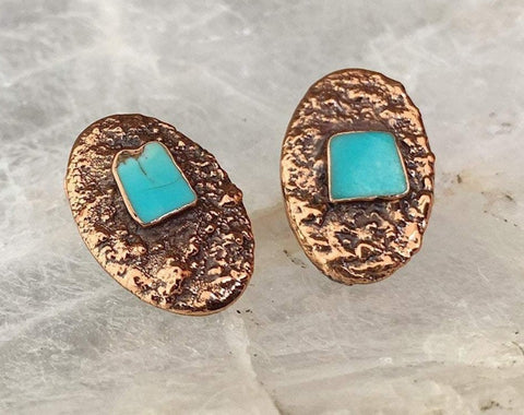 Copper Turquoise Clip Earrings from the Corinthian Line by Bell Trading