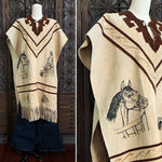 70's Suede Poncho with Pyrography Horse Art