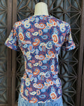 70's Paisley Print Scoop Neck Tee, Size Small