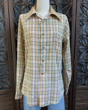 70's Plaid Western Shirt by Sears, Size Small