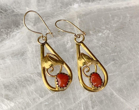 Navajo 12K Gold Filled Coral Earrings