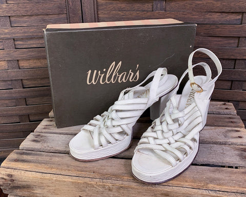 70's Strappy Woven Leather Sandals by Wilbar's, Size 8.5
