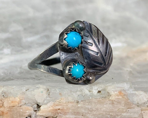 Sterling Turquoise Snake Eyes Ring, Size 6