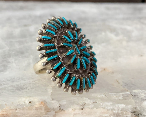 Turquoise Needlepoint Cluster Ring, Size 7.5