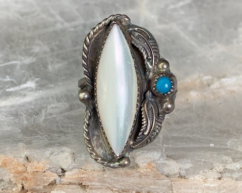 Sterling Mother of Pearl & Turquoise Ring, Size 6.25
