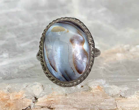 Sterling Abalone Ring, Size 6.25