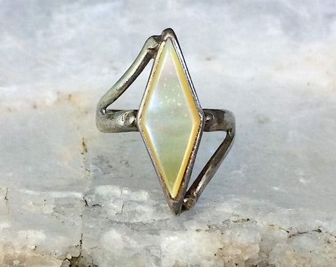 Sterling Yellow Mother of Pearl Ring, Multiple Sizes