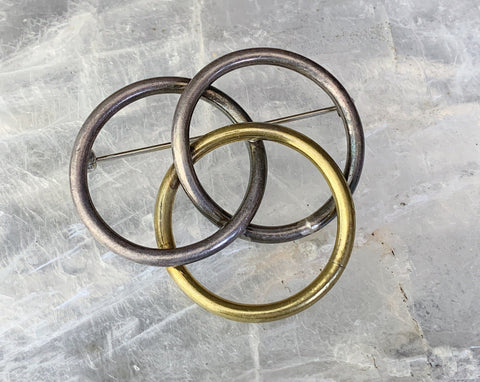 Two Tone Sterling and Brass Three Ring Pin