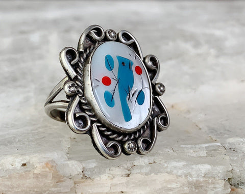Sterling Blue Jay Inlay Ring, Size 6.5