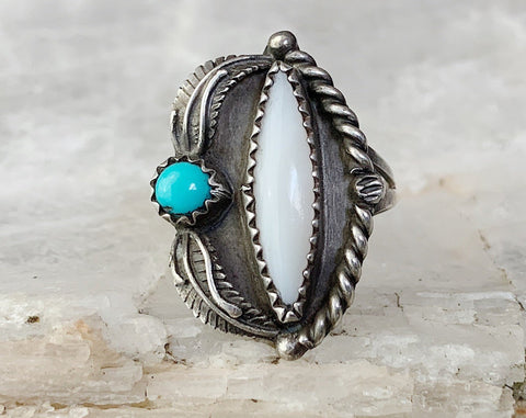 Sterling Mother of Pearl & Turquoise Ring, Size 5.25