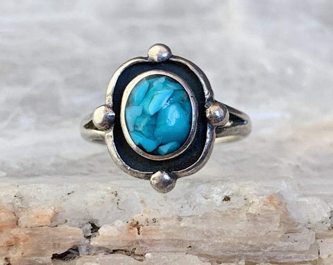 Turquoise Chip Inlay Ring, Size 4.25