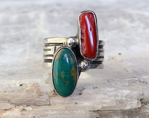 Sterling Silver Turquoise and Coral Ring by Jay King, Size 5.75
