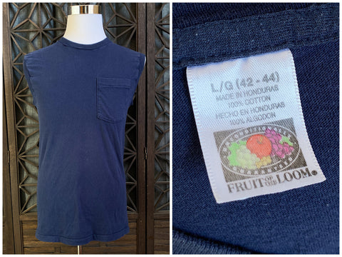 Blue Sleeveless Tee with Chest Pocket by Fruit of the Loom, Size Medium