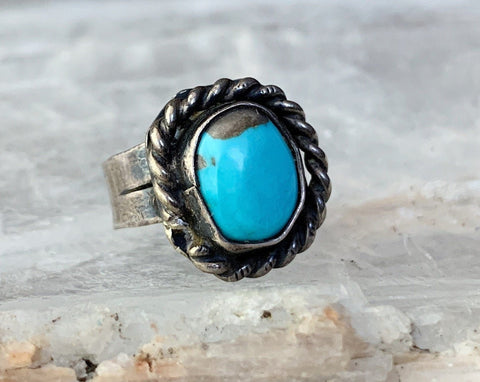 Sterling Turquoise Pinky Ring, Size 3