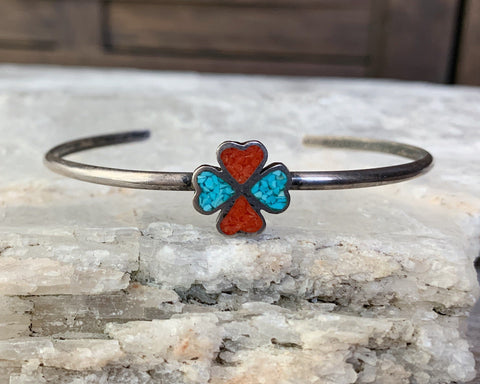Sterling Turquoise & Coral Chip Inlay Bracelet