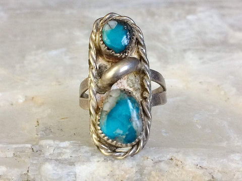 Sterling Turquoise Ring, Size 6.25