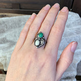 Sterling Malachite and MOP Ring, Size 6