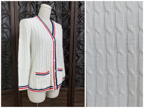 60's Red White and Blue Cardigan Sweater, Size Small