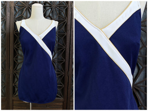 70's Nautical One Piece Bathing Suit by Robbie Len, Size Extra Large