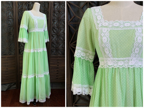 70's Polka Dot Maxi Dress by Nadine, Size Small