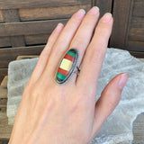 Sterling Mixed Stone Inlay Ring, Size 7
