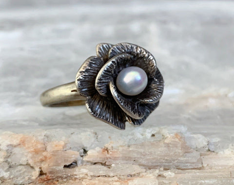Sterling Floral Pearl Ring, Size 6.5