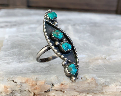 Sterling Raw Turquoise Ring, Size 6