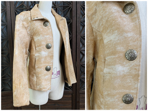 Hair On Cow Hide Jacket, Size Medium