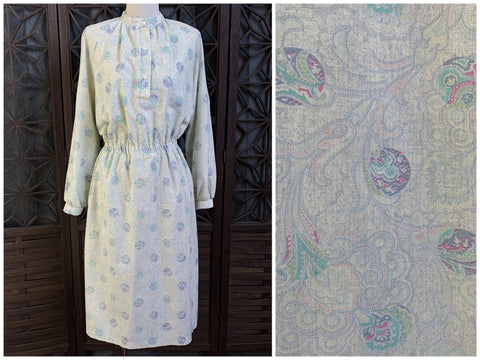 70's Paisley Print Dress, Size Extra Large