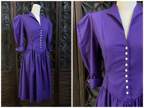 80's Purple Victorian Revival Dress, Size Small